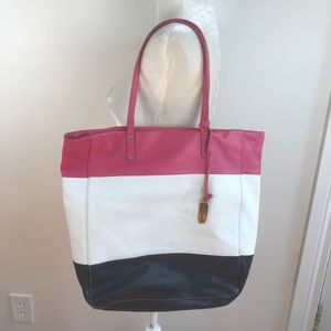 Cynthia Rowley large leather tote bag purse pink